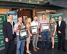 Pictured at the Nedbank Green Wine Awards: Daneël Rossouw (Nedbank), Pietie La Roux (La Motte), Rose Jordaan and Coetzee Ehlers , Andries Burger (Paul Cluver), Kathryn Frew (Getaway) and Neil Piper (Getaway).