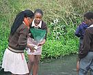 Learners from Fezokuhle Primary conducting a water quality study as part of the Adopt a River programme.
