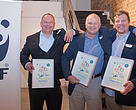 From left to right: Andries Louw of Milotek (Pty) Ltd, Andre Reyneke of Ducere Holdings (Pty) Ltd and Paul Gauché of Stellenergy (Pty) Ltd, proudly hold up their 2016 Climate Solver awards.