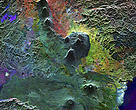 This radar image shows a chain of volcanoes in the DRC called the Virunga Mountains.