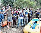 Our Journey of Water squad prepares for an afternoon of rafting.
